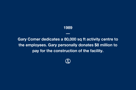 1989 - Gary Comer dedicates a 80,000 sq ft activity centre to the employees. Gary personally donates $8 million to pay for the construction of the facility.