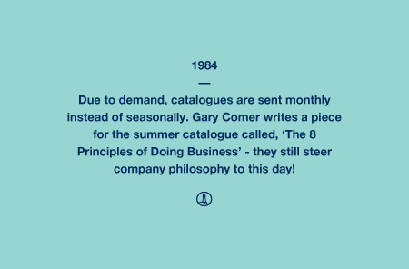 1984 - Due to demand, catalogues are sent monthly instead of seasonally. Gary Comer writes a piece for the summer catalogue called, 'The 8 Principles of Doing Business' - they still steer company philosophy to this day!