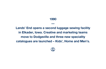 1990 - Lands' End opens a second luggage sewing facility in Elkader, Iowa. Creative and marketing teams move to Dodgeville and three new speciality catalogues are launched – Kids', Home and Men's.