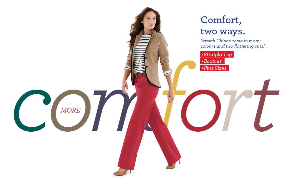 £5 off straight leg chinos, bootcut chinos, plus sizes