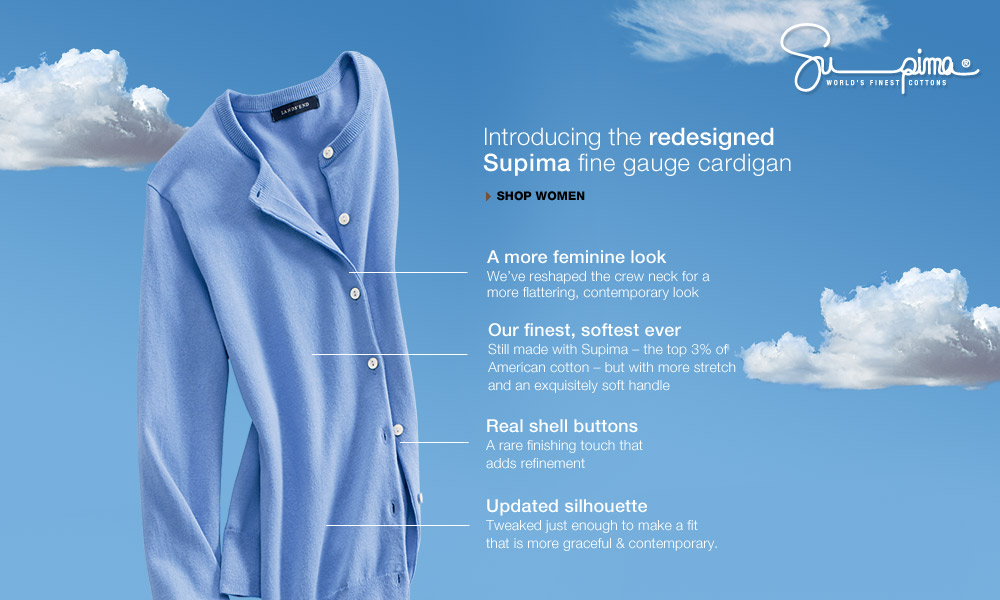 Supima - introducing the redesigned Supima fine gauge cardigan