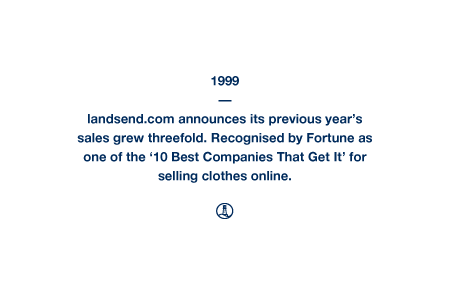 1999 - landsend.com announces its previous year's sales grew threefold. Recognised by Fortune as one of the '10 Best Companies That Get It' for selling clothes online.