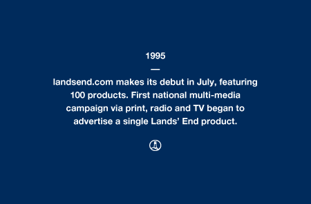 1995 - landsend.com makes its debut in July, featuring 100 products. First national multi-media campaign via print, radio and TV began to advertise a single Lands' End product.