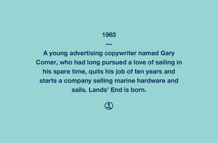 Lands' End 1963 - A young advertising copywriter named Gary Comer, who had long pursued a love of sailing in his spare time, quits his job of ten years and starts a company selling marine hardware and sails. Lands' End is born.