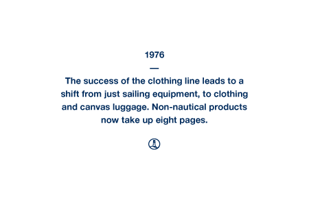 1976 - The success of the clothing line leads to a shift from just sailing equipment, to clothing and canvas luggage. Non-nautical products now take up eight pages.
