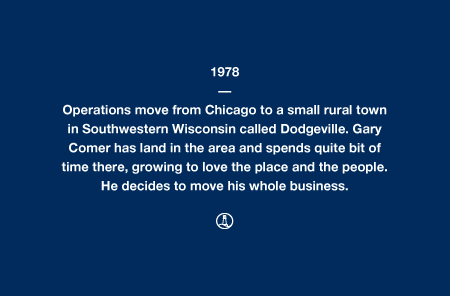 1978 - Operations move from Chicago to a small rural town in Southwestern Wisconsin called Dodgeville. Gary Comer has land in the area and spends quite bit of time there, growing to love the place and the people. He decides to move his whole business.