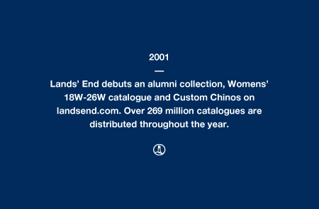 2001 - Lands' End debuts an alumni collection, Womens' 18W-26W catalogue and Custom Chinos on landsend.com. Over 269 million catalogues are distributed throughout the year.