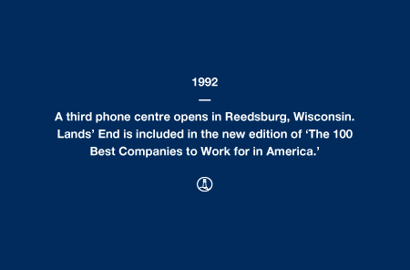 1992 - A third phone centre opens in Reedsburg, Wisconsin. Lands' End is included in the new edition of 'The 100 Best Companies to Work for in America.'