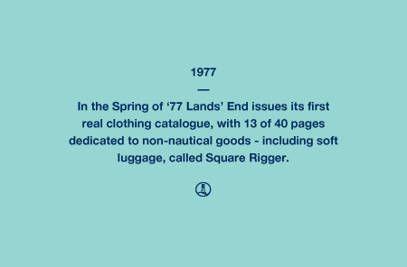 1977 - In the Spring of '77 Lands' End issues its first real clothing catalogue, with 13 of 40 pages dedicated to non-nautical goods - including soft luggage, called Square Rigger.