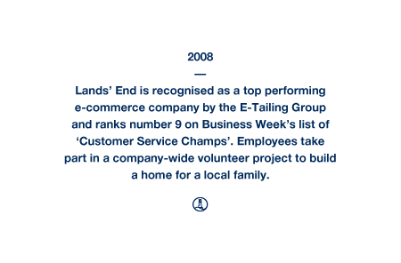 2008 - Lands' End is recognised as a top performing e-commerce company by the E-Tailing Group and ranks number 9 on Business Week's list of 'Customer Service Champs'. Employees take part in a company-wide volunteer project to build a home for a local family.