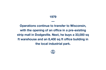 1979 - Operations continue to transfer to Wisconsin, with the opening of an office in a pre-existing strip mall in Dodgeville. Next, he buys a 33,000 sq ft warehouse and an 8,400 sq ft office building in the local industrial park.