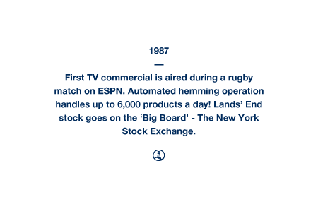 1987 - First TV commercial is aired during a rugby match on ESPN. Automated hemming operation handles up to 6,000 products a day! Lands' End stock goes on the 'Big Board' - The New York Stock Exchange.