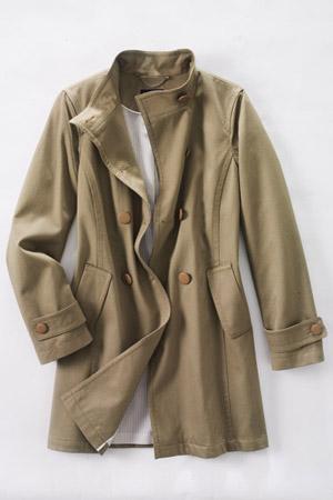 Women's Plus Double-Breasted Cotton Piqué Coat