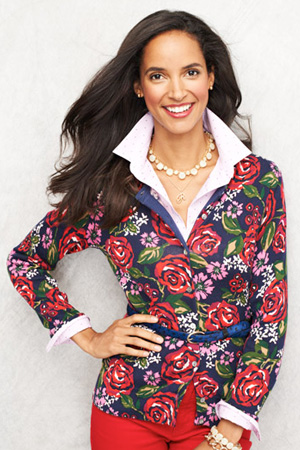 Women's Plus Long Sleeve Floral Print Supima Cardigan